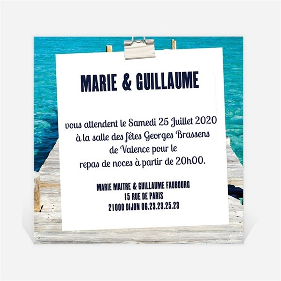 Carton d'invitation mariage Sur le ponton réf.N30095