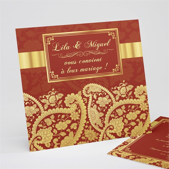 Faire-part mariage Inspiration Bollywood réf.N31134