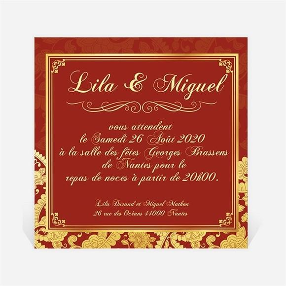 Carton d'invitation mariage Inspiration Bollywood réf.N30092
