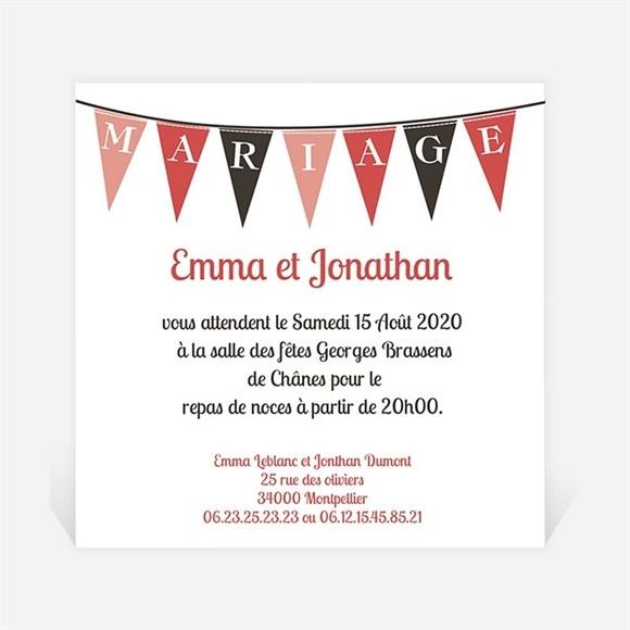 Carton d'invitation mariage Mariage sous les fanions réf.N30091