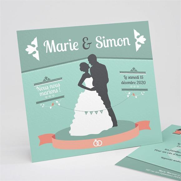 Faire-part mariage Silhouettes noires et blanches réf.N31137