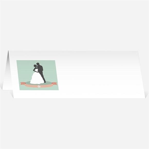 Marque-place mariage Silhouettes noires et blanches réf.N440118