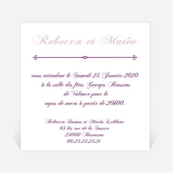 Carton d'invitation mariage Dans un lit de roses réf.N30096
