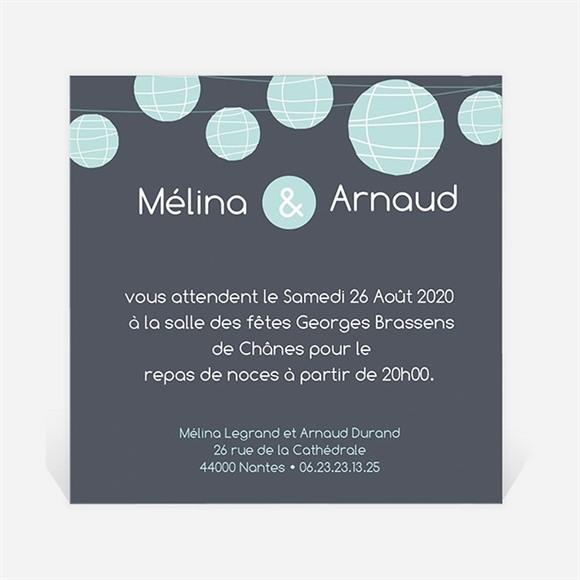 Carton d'invitation mariage Guirlande de lampions ardoise réf.N30093