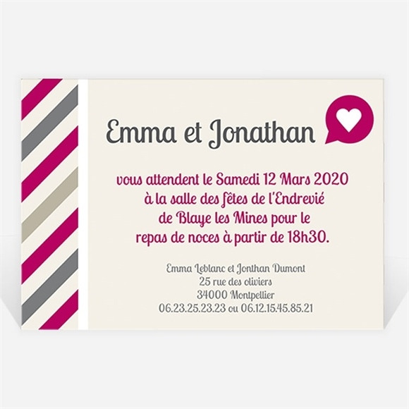 Carton d'invitation mariage Vous êtes invités réf.N120185