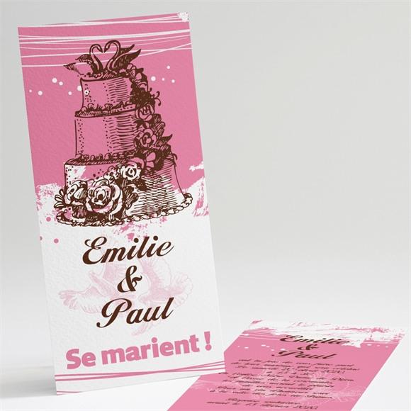 Faire-part mariage Le gâteau rose et blanc réf.N22114