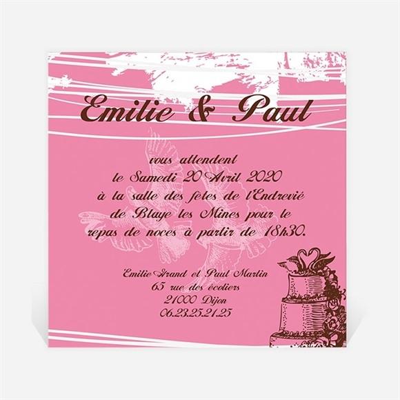 Carton d'invitation mariage Le gâteau rose et blanc réf.N300100