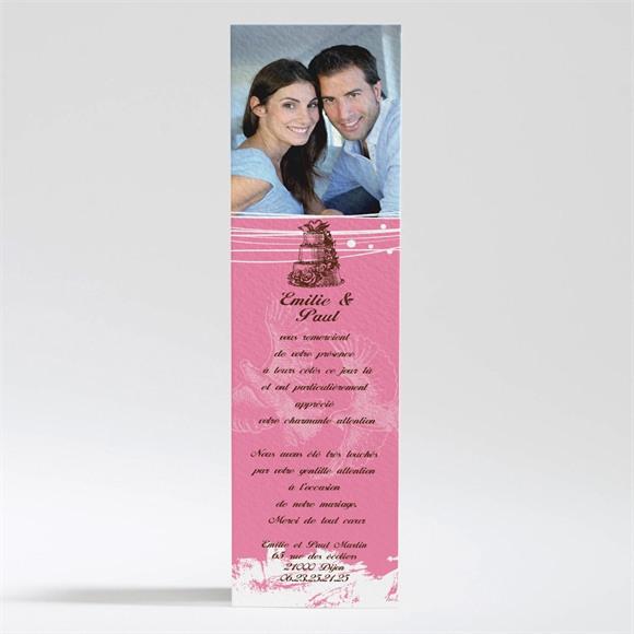Remerciement mariage Le gâteau rose et blanc réf.N200171