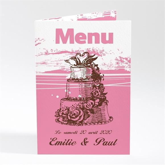 Menu mariage Le gâteau rose et blanc réf.N401160