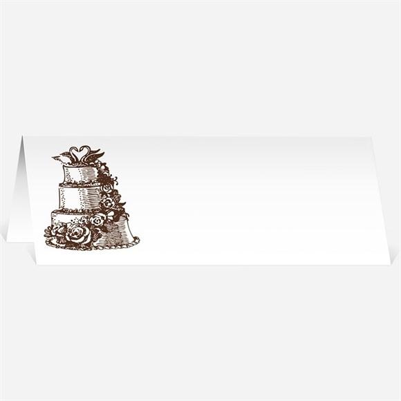 Marque-place mariage Le gâteau rose et blanc réf.N440125