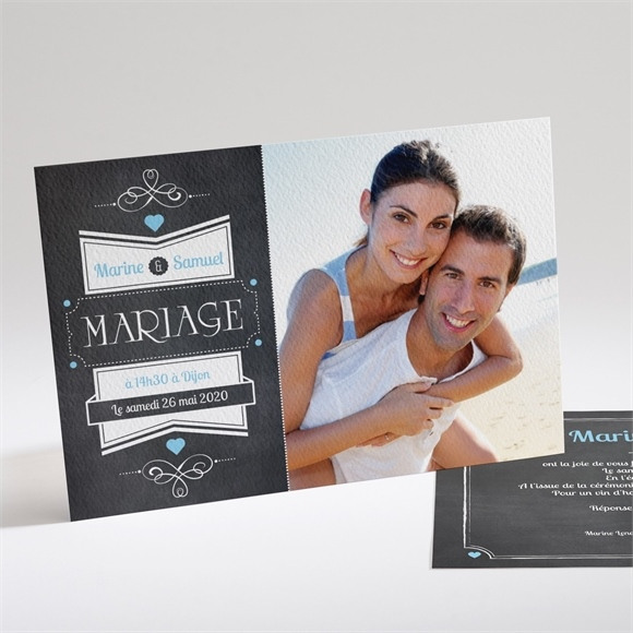 Faire-part mariage Vintage ardoise photo réf.N14111