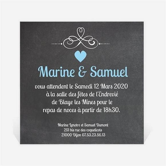 Carton d'invitation mariage Vintage ardoise photo réf.N30098
