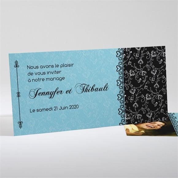 Faire-part mariage En Bleu et Noir réf.N13117