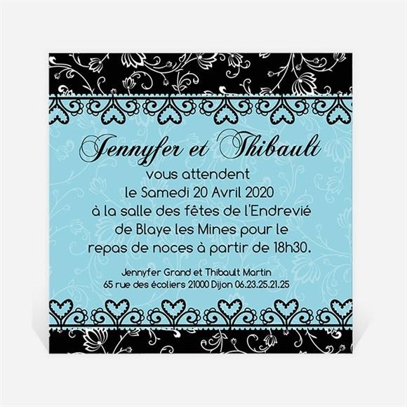 Carton d'invitation mariage En Bleu et Noir réf.N300101