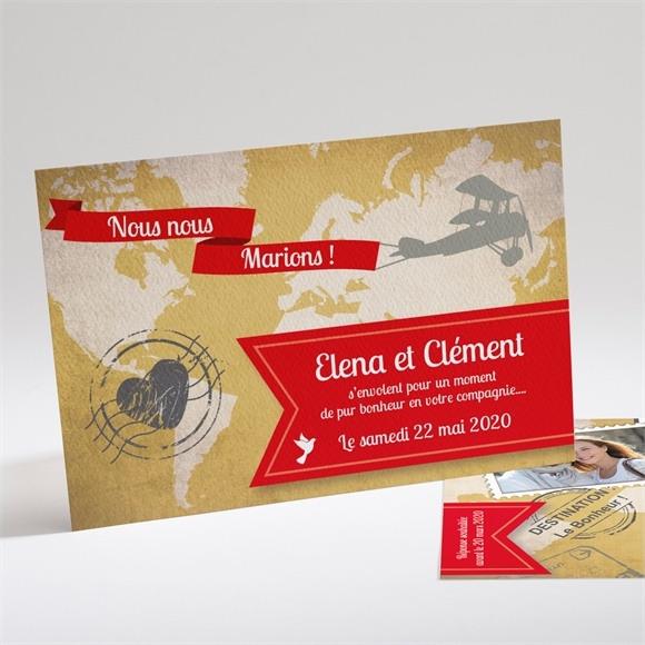 Faire-part mariage Carte postale voyage réf.N14112