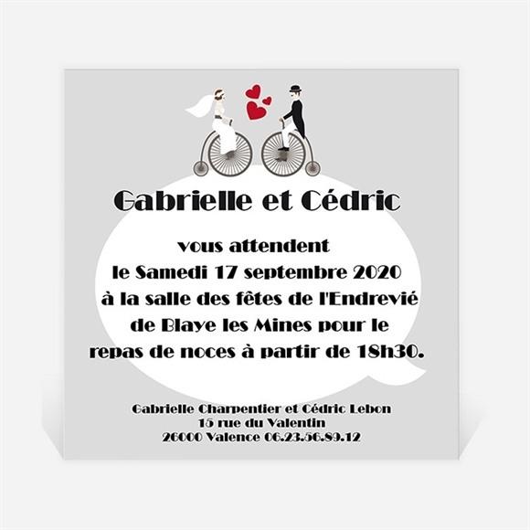 Carton d'invitation mariage Vélo vintage photo réf.N300108