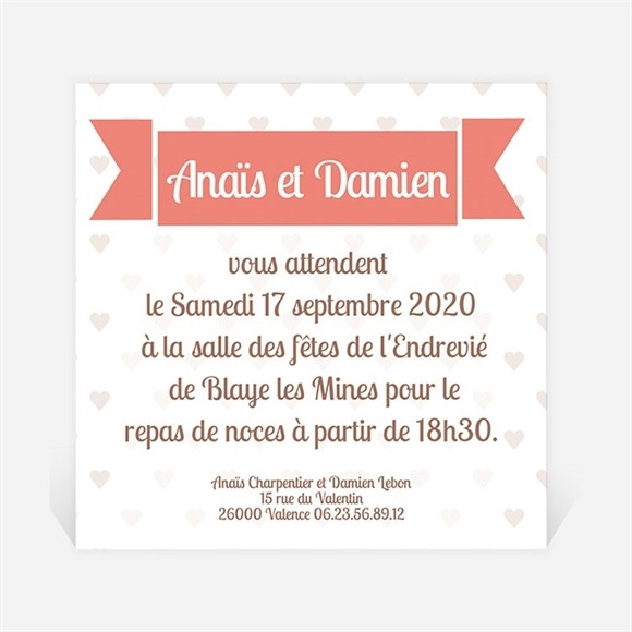 Carton d'invitation mariage Ballon en coeur poétique réf.N300109