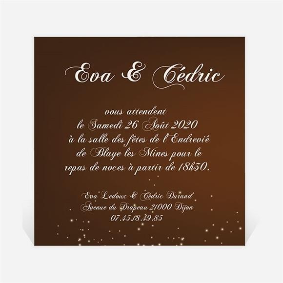 Carton d'invitation mariage Marron et doré réf.N300112