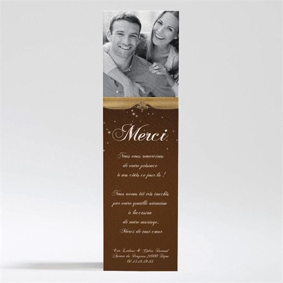 Remerciement mariage Marron et doré réf.N200183