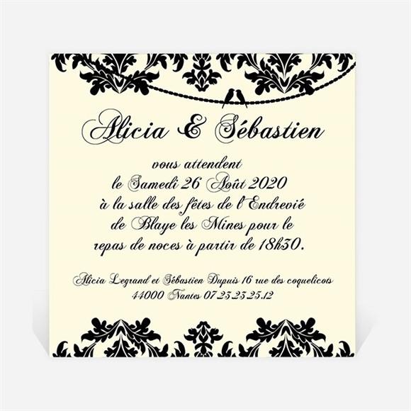 Carton d'invitation mariage Oiseaux à l'Encre de Chine réf.N300111