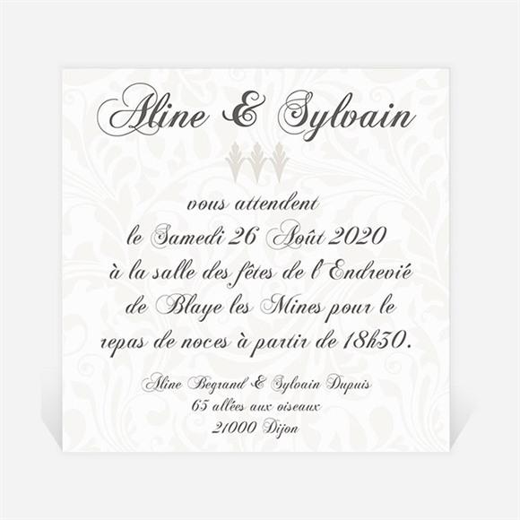 Carton d'invitation mariage Beige vintage photo réf.N300110