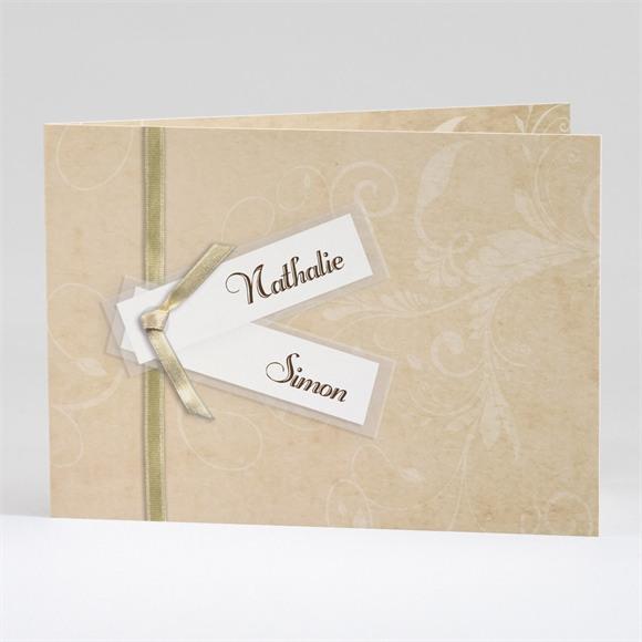 Faire-part mariage Imitation original beige réf.N42115