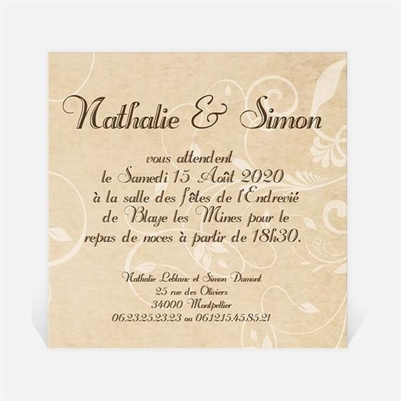 Carton d'invitation mariage Imitation original beige réf.N300114