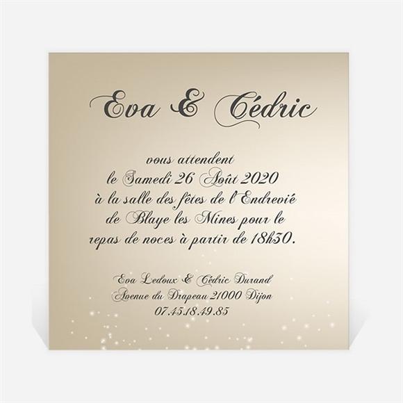 Carton d'invitation mariage Petit Noeud doré réf.N300113
