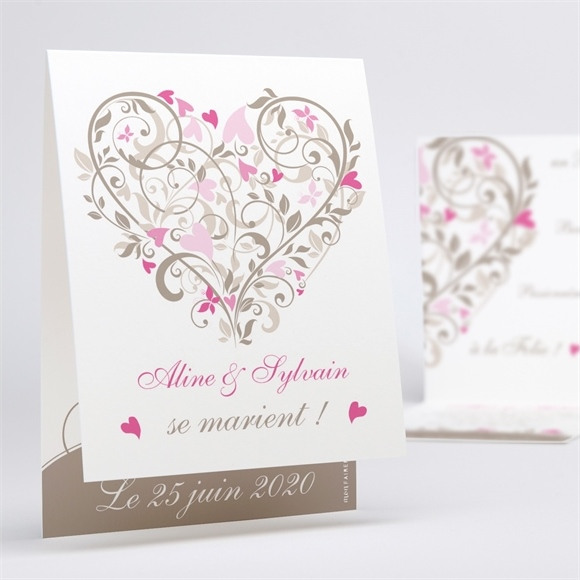 Faire-part mariage Coeur arabesque réf.N50129