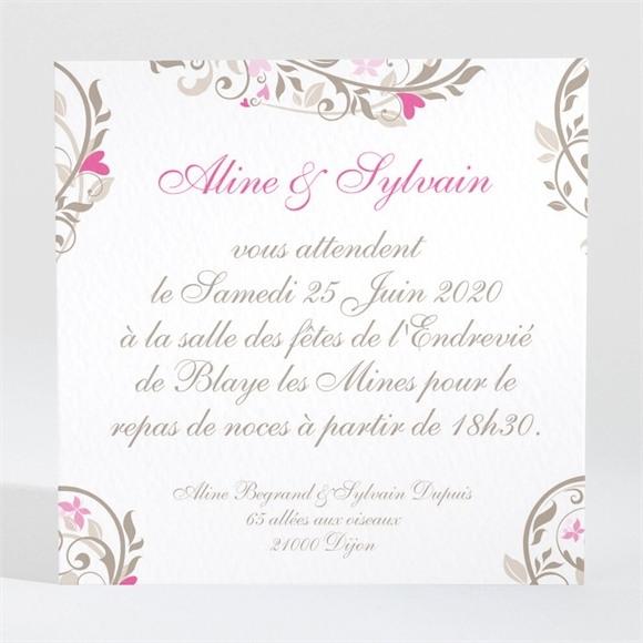 Carton d'invitation mariage Coeur arabesque réf.N300116