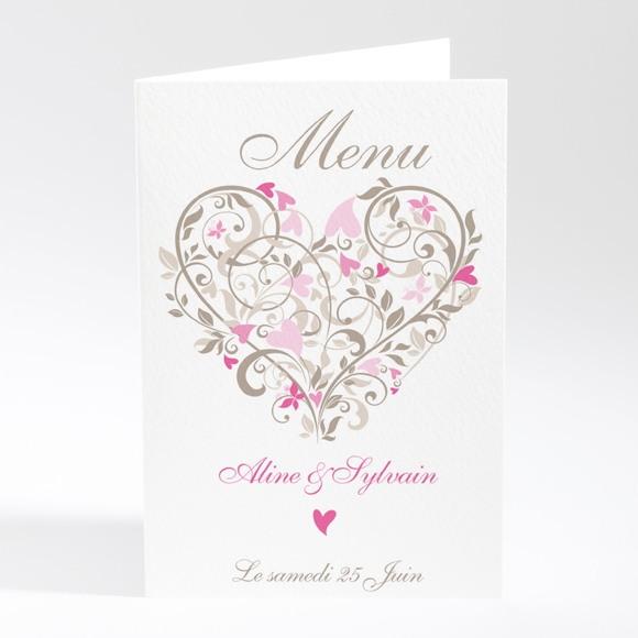 Menu mariage Coeur arabesque réf.N401176