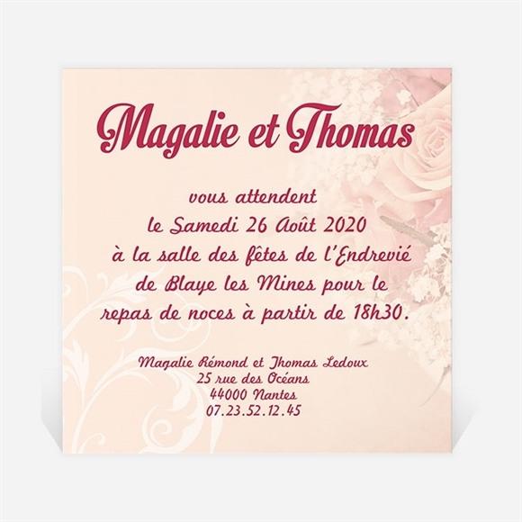 Carton d'invitation mariage Fleurs romantiques réf.N300119