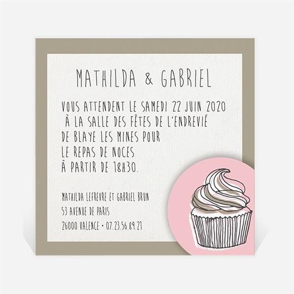 Carton d'invitation mariage Classique recto verso réf.N300124