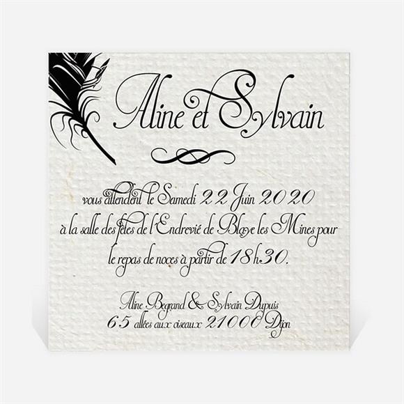 Carton d'invitation mariage Plume noire réf.N300123