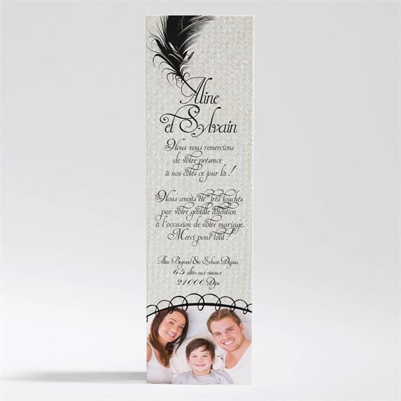 Remerciement mariage Plume noire réf.N200194
