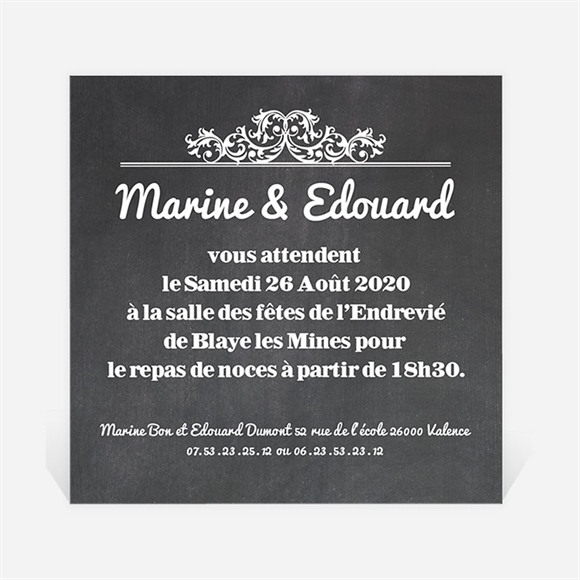 Carton d'invitation mariage Belle ardoise mariage réf.N300131