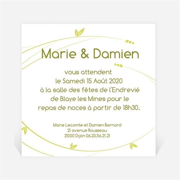 Carton d'invitation mariage Moderne et printanier réf.N300118