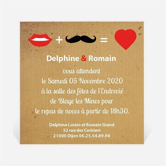 Carton d'invitation mariage Rouge à lèvres et moustache réf.N300133