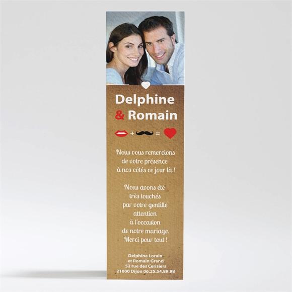 Remerciement mariage Rouge à lèvres et moustache réf.N200203