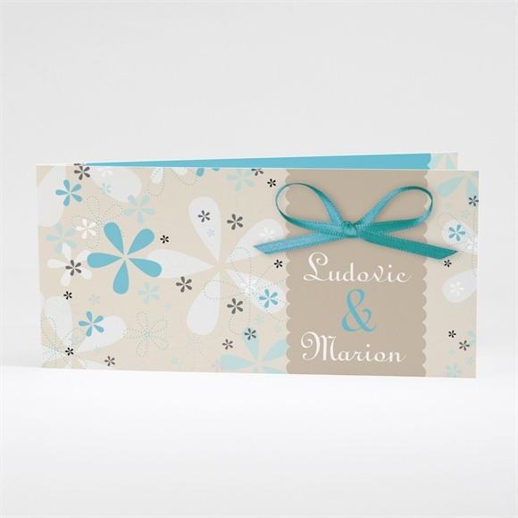 Faire-part mariage Petits flocons bleu et beige réf.N43121