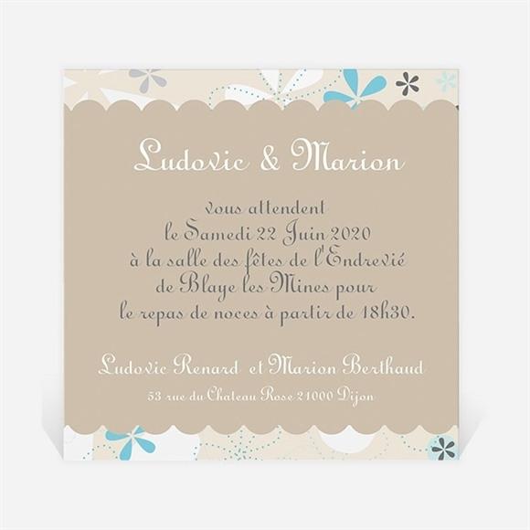 Carton d'invitation mariage Petits flocons bleu et beige réf.N300130