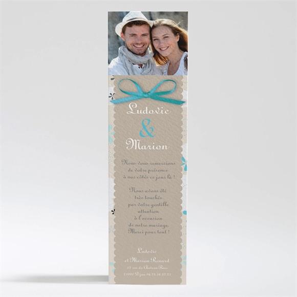 Remerciement mariage Petits flocons bleu et beige réf.N200200