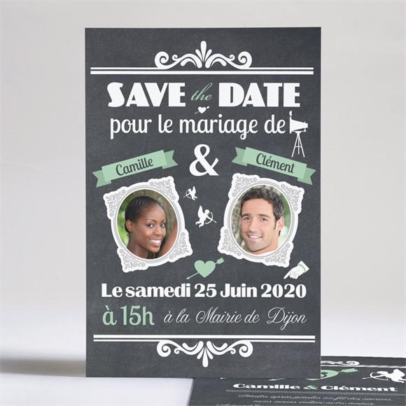 Faire-part mariage Ardoise photo vintage réf.N24131