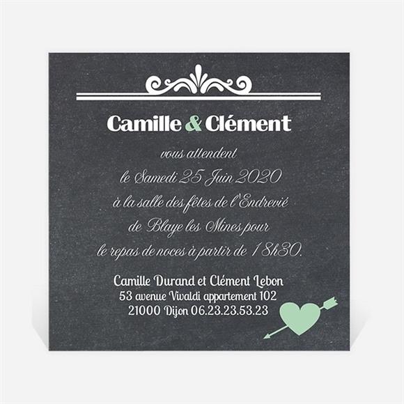 Carton d'invitation mariage Ardoise photo vintage réf.N300136