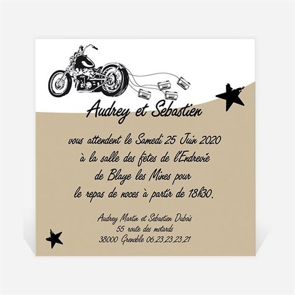 Carton d'invitation mariage Moto vintage réf.N300138
