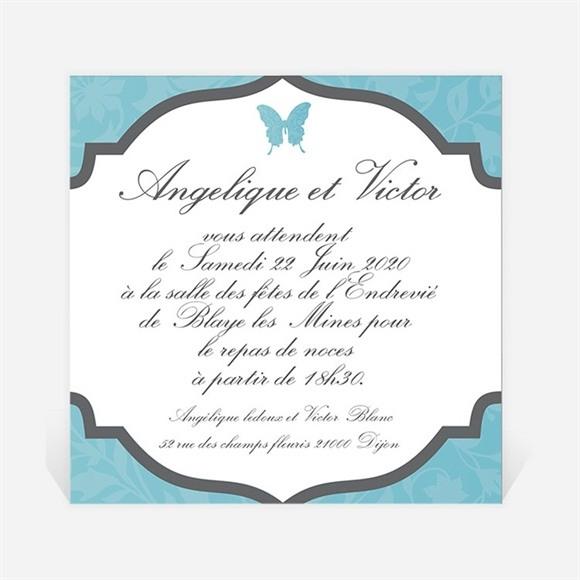 Carton d'invitation mariage Le Papillon bleu réf.N300128