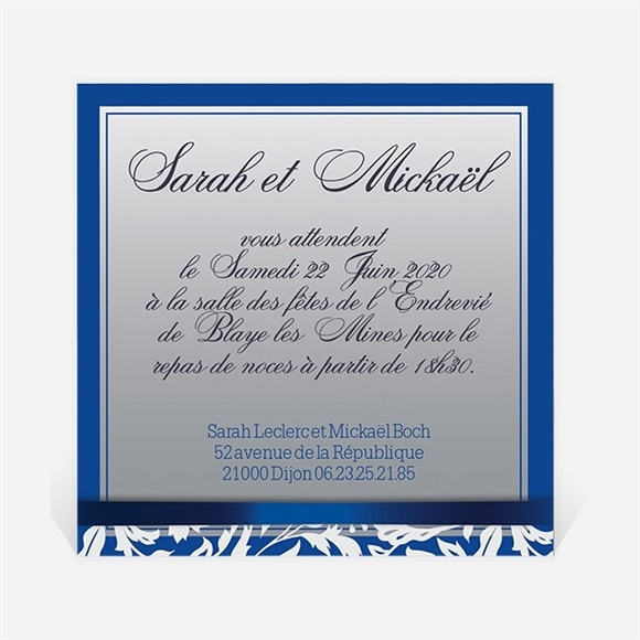 Carton d'invitation mariage Motifs floraux et rubans chic réf.N300120