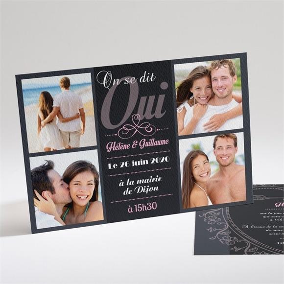 Faire-part mariage Programme vintage et ardoise réf.N14117