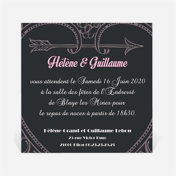 Carton d'invitation mariage Programme vintage et ardoise réf.N300141