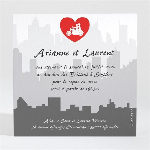 Carton d'invitation mariage Romantisme à moto réf.N300140